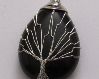 """Polished Black Tourmaline Pendant with Wire Wrapped Tree of Life. Pendant 1 3/4"""" long and 1"""" wide. Pendant, Necklace."""