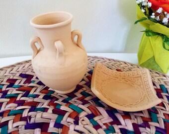 Handmade mini clay vase & holder, pottery, ornament, home decor, traditional, cultural, arabic