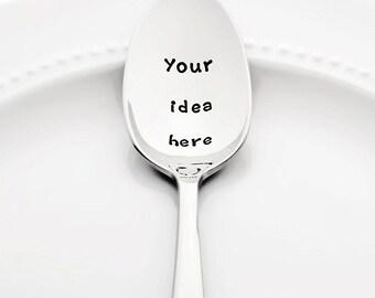 Your Idea Here. Personalized Spoon Custom Stamped Spoon Hand Stamped Spoon Customized Spoon Custom Coffee Spoon Birthday Gift Boyfriend Gift