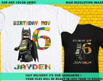 Lego Batman / Iron On Transfer / Boy Birthday Shirt Design / DIY Shirt / High Resolution / For Any Color T Shirt / 12 Hours Turnaround Time