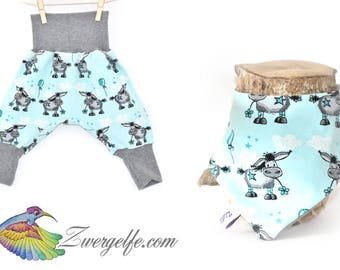 Baby set bloomers turn scarf donkey (Biojersey) Turquoise