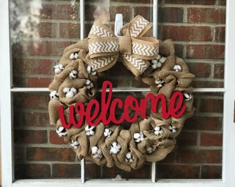 Rustic farmhouse burlap and cotton Welcome wreath