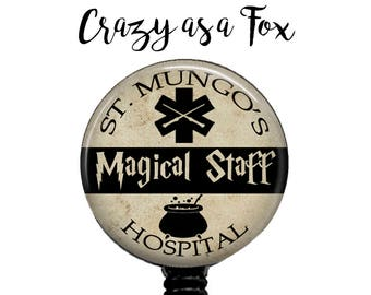 St. Mungo's Hospital Magical Staff Retractable Badge Holder,  Badge Reel, Lanyard, Stethoscope ID Tag, Nurse, MD,  Harry Potter inspired