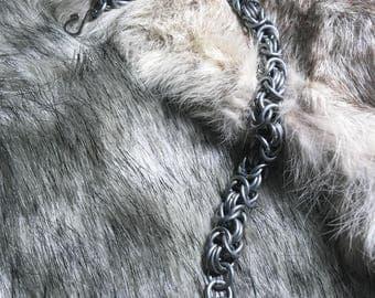 Triple Byzantine Chainmaille Bracelet - Galvanized Steel