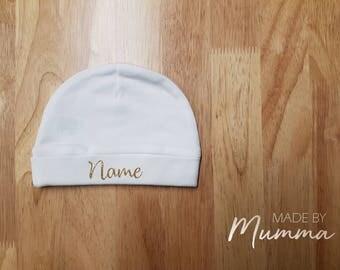 Newborn Beanie, New Baby Hat, Personalised Newborn Clothing