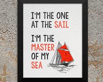 I'm the Master of My Sea Printable 8x10 Download Imagine Dragons Lyrics Sailboat