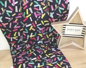 Universal Pram Liner Black &  Multi Confetti