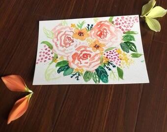 Loose floral watercolour design, A5, original