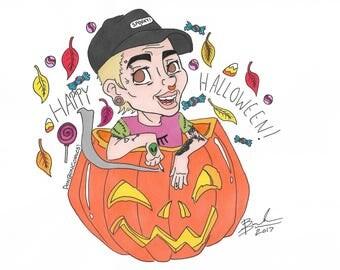 Donboncomics! original character illustration comic Don in a pumpkin