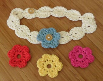 Crochet Flower Headband, Adjustable to Fit Sizes Toddler to Adult