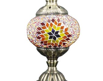 Handmade Colourful  unique Glass Mosaic Lamp, LED bulb included