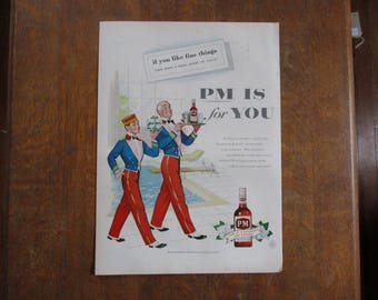 1955 Original Vintage PM Blended Whiskey ad