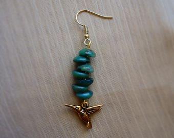 Hummingbird in Forest Handmade Earrings ~ Gift for her ~ Valentine's Day ~ Girlfriend Gift ~ Golden Dangle Czech Glass Bead Earrings ~ Bride
