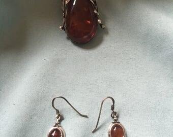 Sterling silver genuine amber broach and earrings