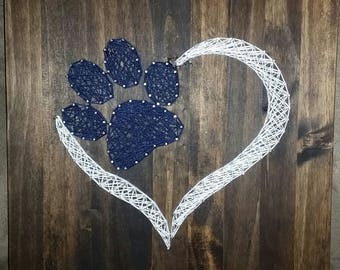 Handmade Paw print with heart string art