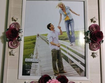Beige Wooden Frame with Paper Flowers