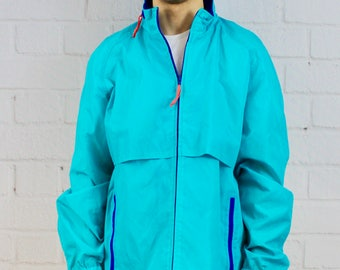 Mens Vintage 80s 90s Woolrich Neon Turquoise Blue Windbreaker Rain Jacket with Hood