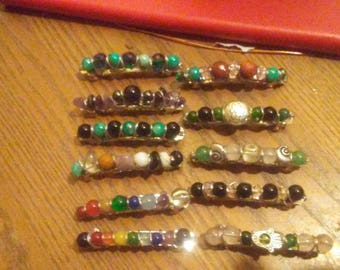 Custom hair clips with healing stones