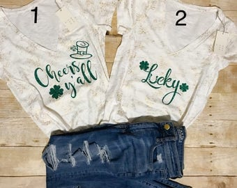 St. Patricks Day Shirt - Womens St Pattys Shirt - Lucky Shirt - Cheers Ya'll St Patricks Day Shirt - St. Patricks Day