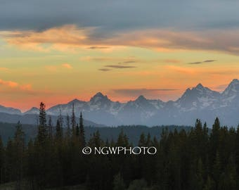 Grand Tetons at Sunset Art Print 12x24, Photography, Mountain Photo, landscape photographh, Wall Art