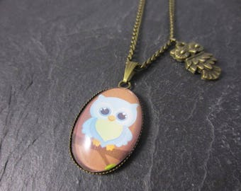 Cute sweet bronze Owl necklace Glass Cabochon