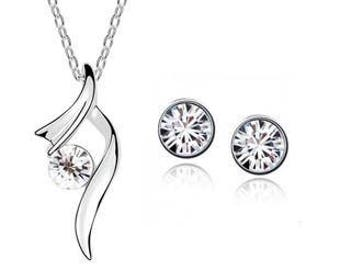 Jewelry Set Necklace & Stud earrings * Silver White