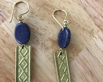 Engraved Brass with Lapis Lazuli Stone