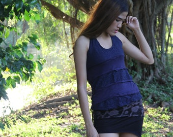 Dark Blue Lace Layer Pixie Top, Fairy Tank Top, Gypsy Boho Hippie Top, Yoga Halter Top, Goa Trance Clothing, Belly Dance, Festival Costume