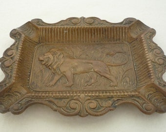 Vintage Brass Ashtray with African Lion