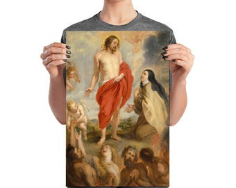 Christian art print  - Saint Teresa of Ávila Interceding for Souls in Purgatory - St Teresa print - poster