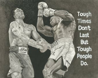 Original Portrait - Anthony Joshua vs Klitschko  - Charcoal and Graphite on A4 with Motivational Quote
