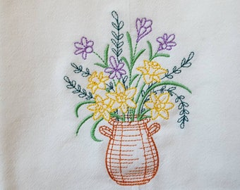 Blooming March Basket Embroidered Flour Sack Dish Towel