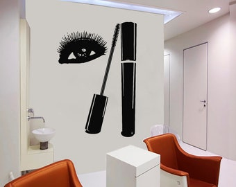 Wall Decal Window Sticker Beauty Salon Woman Face Eyelashes Lashes Eyebrows Brows t60