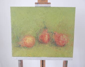 Pears on green - Original painting