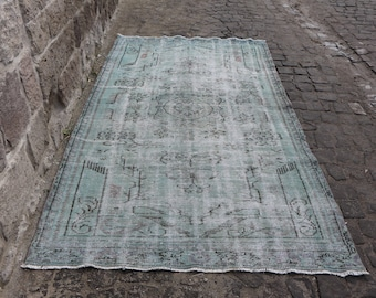 Gray Color Overdyed Turkish Rug Free Shipping Floor Rug 4.9 x 8.9 ft. Low Pile Anatolian Rug Bohemian Area Rug Handknotted Rug MB120