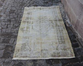 pale old carpet 3.6x 6.1 ft.turkish anatolian decorative rug floor rug handmade turkish rug bohemian rug wool rug pale color rug  MB178