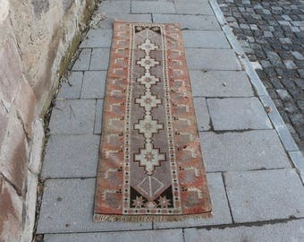 Free Shipping 1.9 x 6 ft. Turkish runner area rug, bohemian floor rug, organic wool rug, aztec runner area rug, rustic runner rug, MB267