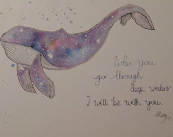 Original Whale (Galaxy) Watercolour Print