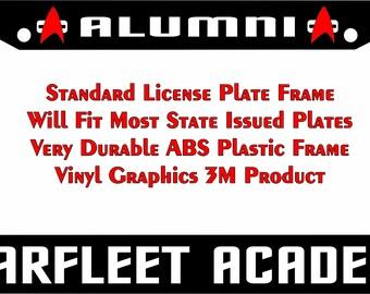 Star Trek Starfleet Academy Alumni white Custom license plate frame
