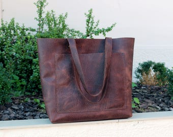 Tote bag Tote bag with pockets Large leather tote bag Dark Brown distressed leather tote Hand stitched shopper  with front and inside pocket