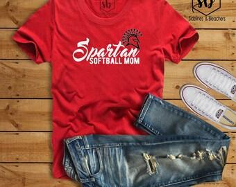 Spartan Softball Mom |Red V-Neck |Red Crew neck