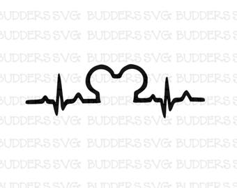 Disney Heartbeat SVG, Disney Cut File, Disney SVG, Disney Shirt svg, Mickey Heartbeat svg