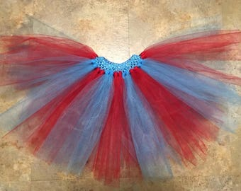 Handmade Thing 1 Thing 2 Inspired Red and Turquoise Tutu Skirt