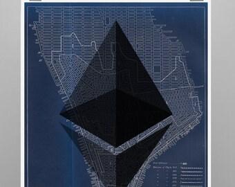 Ethereum Crypto New York Vintage Poster