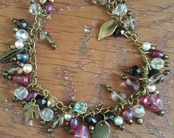 Metal bronze Beads Bracelet glass