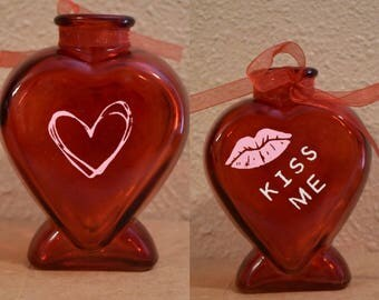 """Red Heart Glass Vase """"Kiss Me"""""""