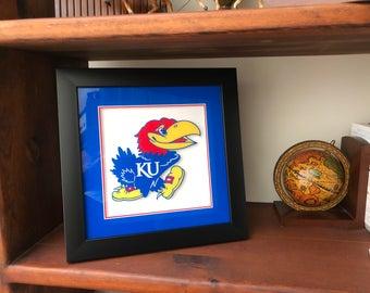 "KU Jayhawk Framed with 3D effect. Rock Chalk. Kansas University. 12""x12"""