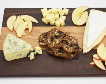 Solid Walnut and Hickory Cheese Board / Serving Tray, Handmade in Colorado