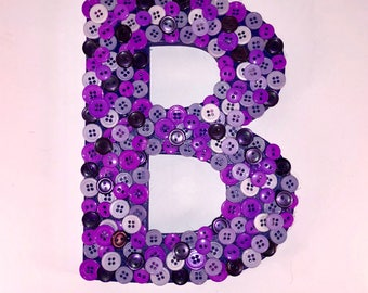 "Whole Lot of Purple 8"" Letter ""B"", Button Art, Wall Hanging, Purple Monogram Wall Hanging, Nursery Decor, Letter B"