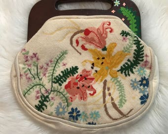 Vintage Floral Needlepoint Purse with Wooden Top Handle